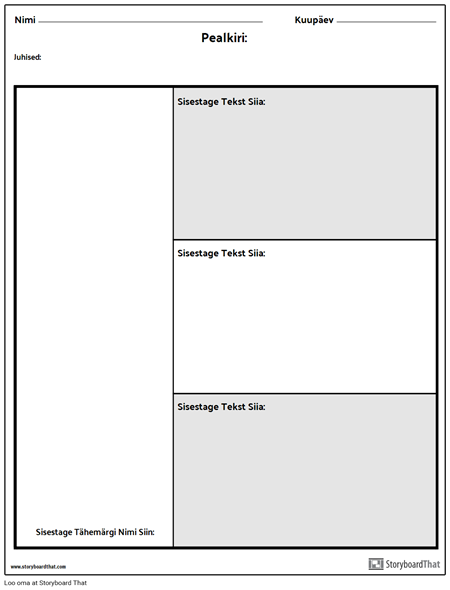 Character Chart - 3 Küsimust