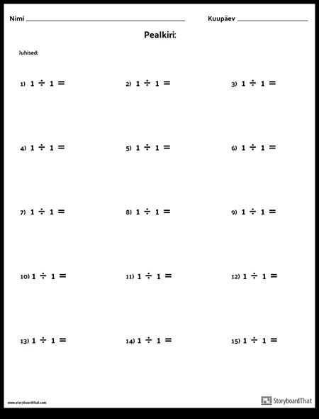 Jagu - üks Number - Versioon 1