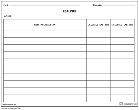 Rubriik - Tabel