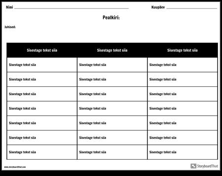 Tabel - 3 Veergu, 7 Rida