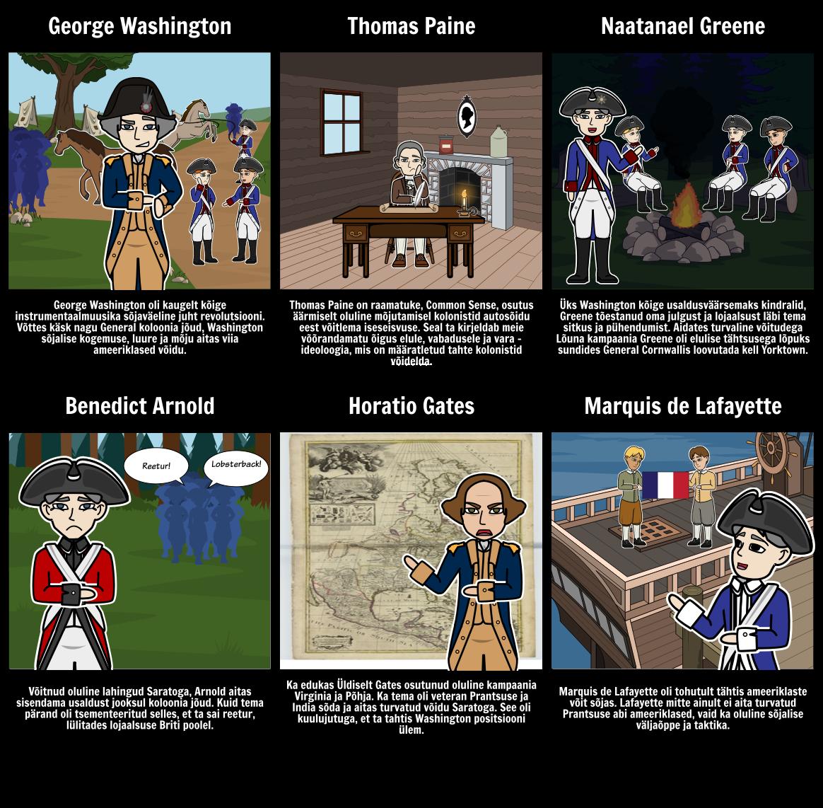 Tähtis Inimesed American Revolution