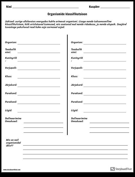Taxonomic Rank Worksheet Activity