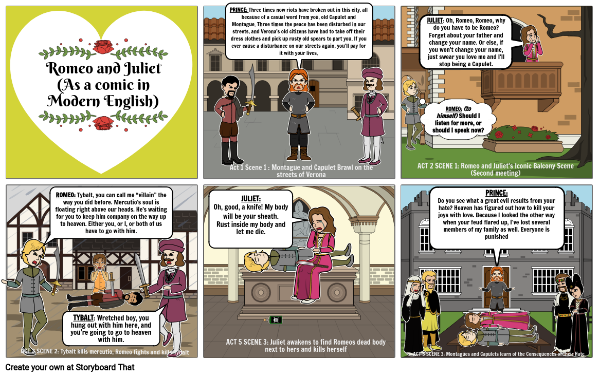 Romeo and Juliet Remediated Comic - Highlights of the Play