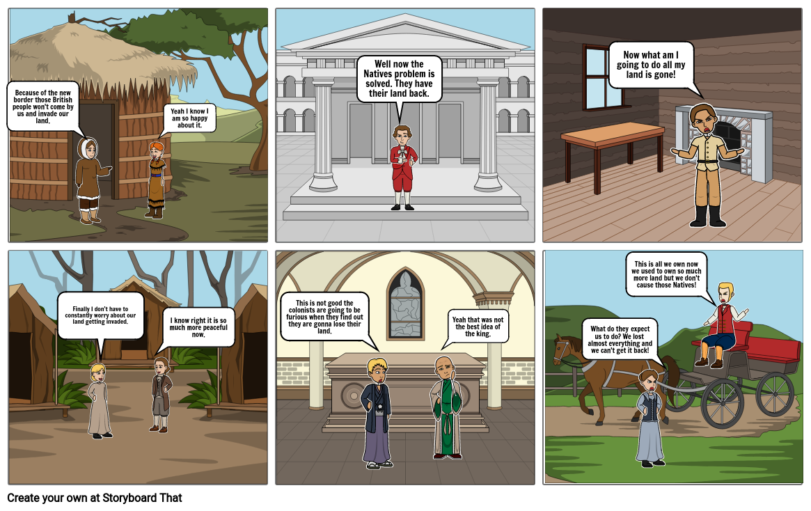 Native American, British, and Colonists Storyboard Perspective