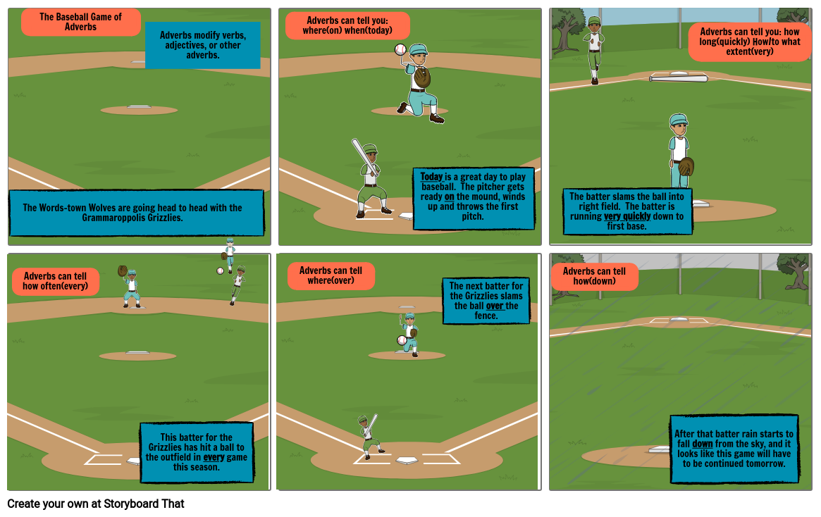 Baseball Game Adverbs Comic Strip