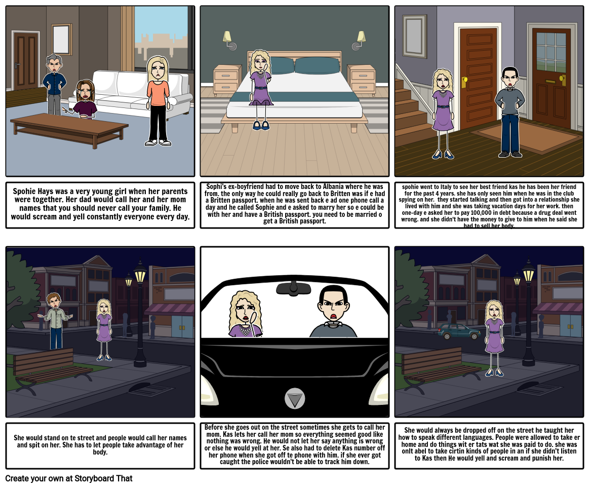 Trafficked By: Sophie Hayes Storyboard par ferbets