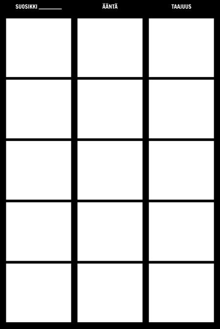 Taajuus Tally Chart Malli