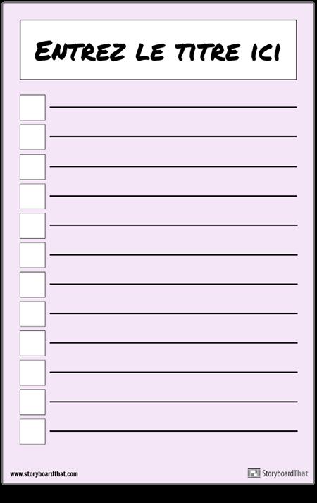 Affiche de la Liste de Contrôle de Base