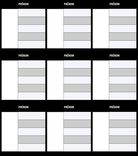 Carte de caractères 5-Modèle de champ