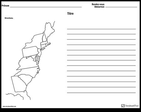 Carte des 13 Colonies - Avec Lignes