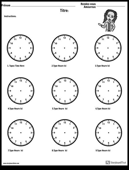 Dessinez les Mains sur L'horloge