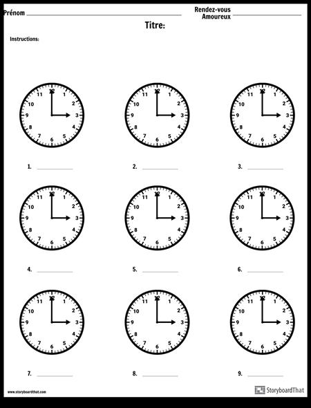 Écrivez L'heure