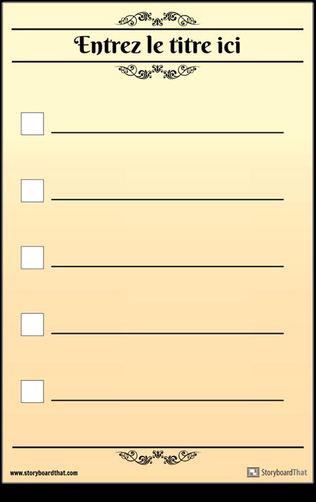 Liste de Contrôle de Base Pour 5 Vérifications