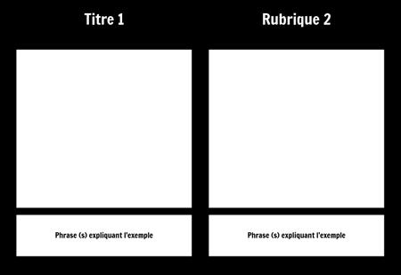T-Chart avec description 1 rangée