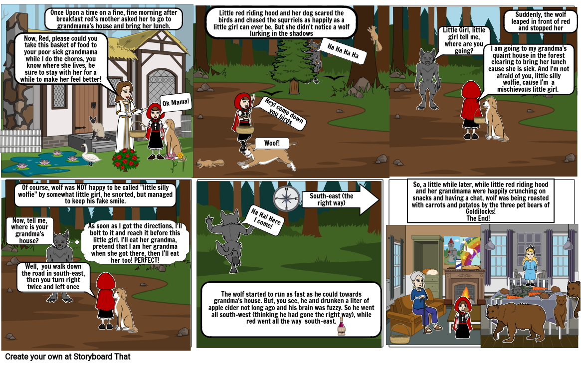 Little Red Riding Hood-Parody Fairytale Storyboard