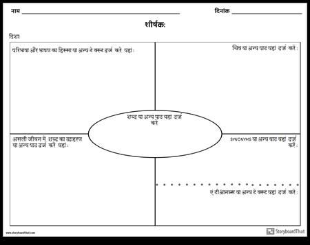 शब्दावली - पारंपरिक Frayer मॉडल
