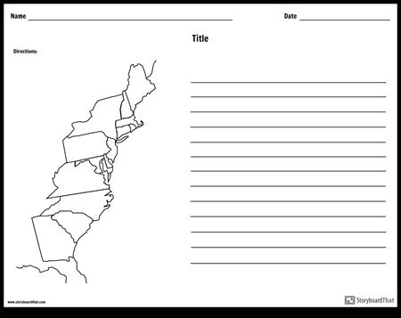 13 कॉलोनी मानचित्र - लाइनों के साथ