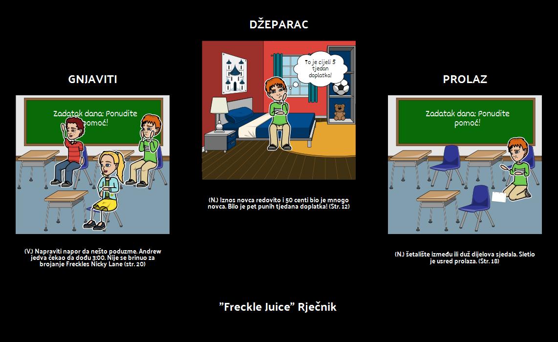 Freckle Juice - Vocabulary