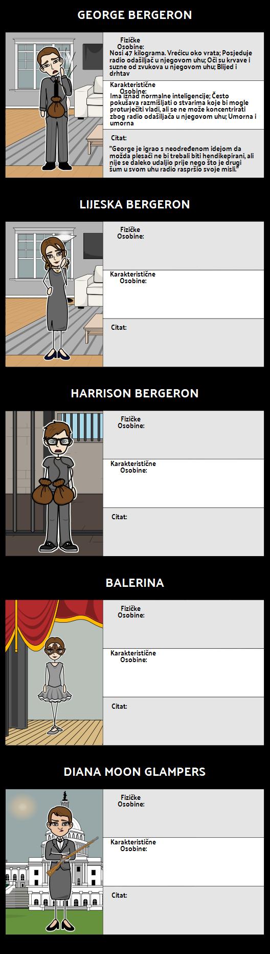 Karakterna Karta za Harrison Bergeron