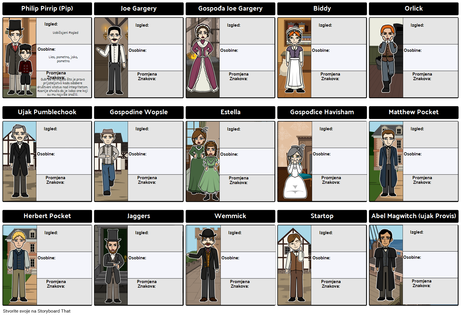 Karakterne Karte Velikih Očekivanja