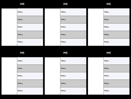 Karta znakova 5 polja predloška