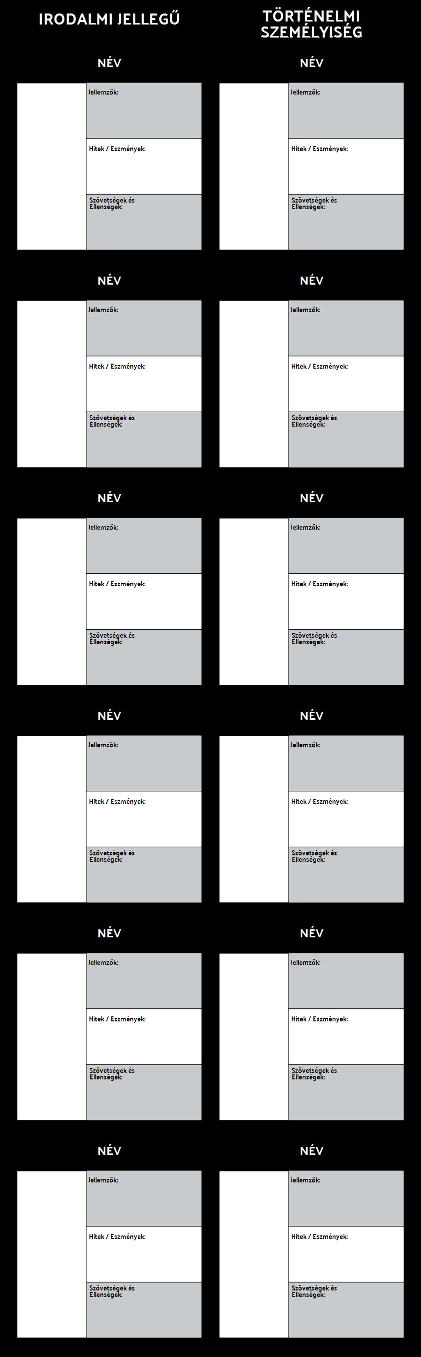Allegória Character T-Chart Template