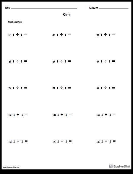 Divízió - Egyetlen Szám - 1. Verzió