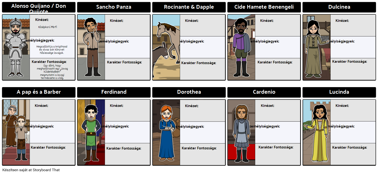 Don Quijote Character Map Graphic Organizer