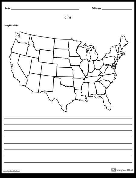 Egyesült Államok Térkép - a Vonalakkal