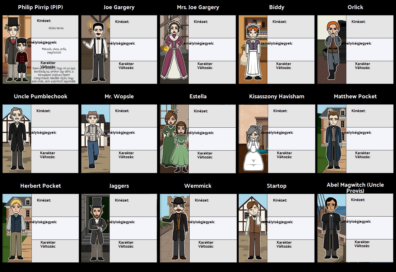 Nagy Várakozások Character Map