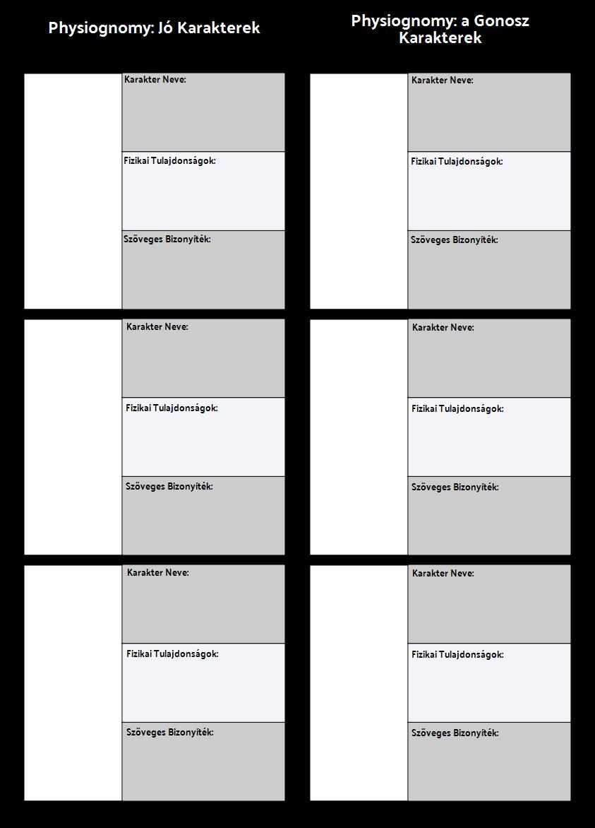 Physiognomy Összehasonlító Táblázat Sablon