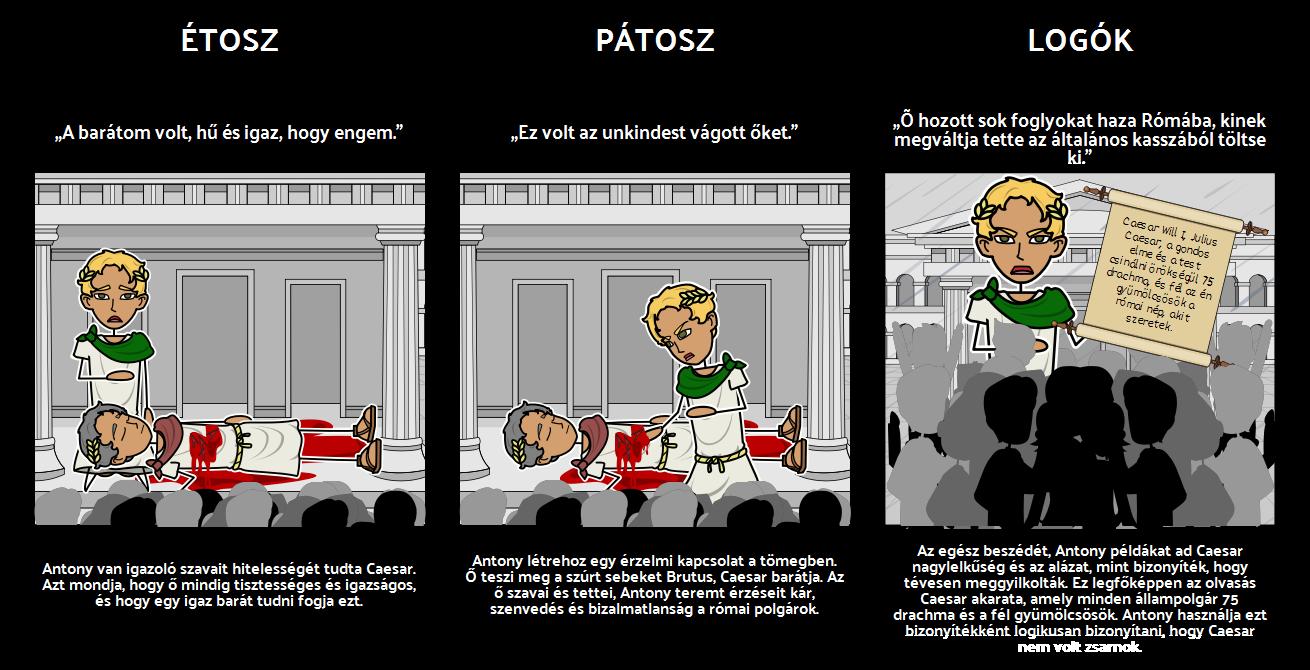 Tragédiája Julius Caesar Ethos, Pátosz és Logók