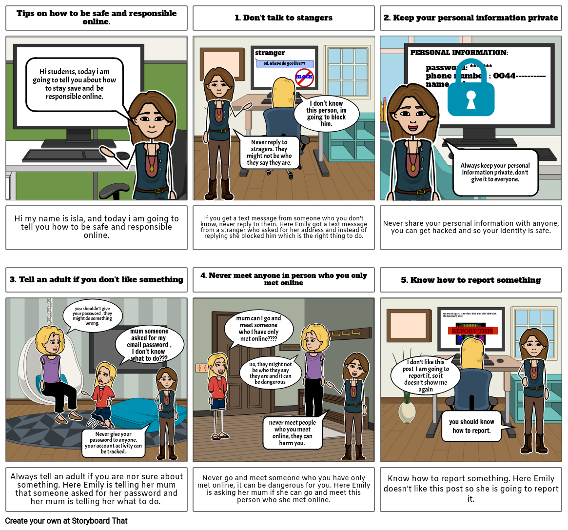 STORYBOARD - HOW TOP BE SAFE AND RESPONSIBLE ONLINE