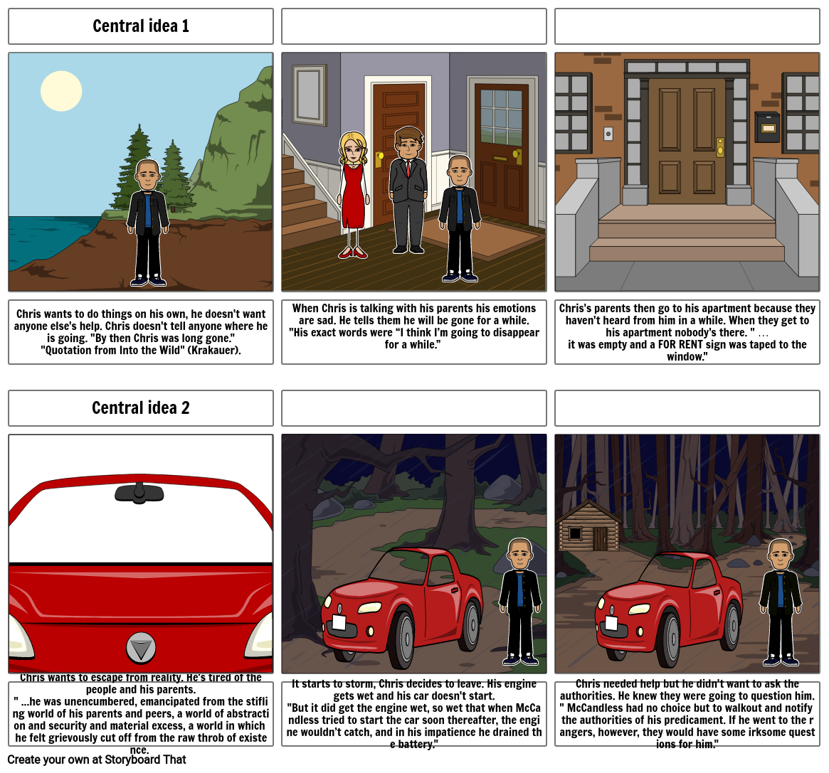 Into the Wild storyboard