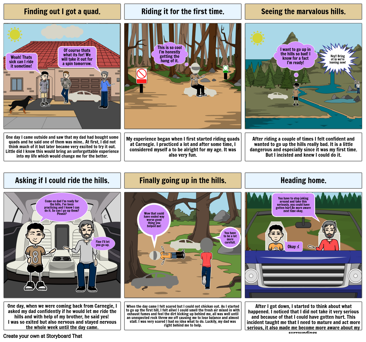 Autobiographical Narrative Storyboard- Quintero