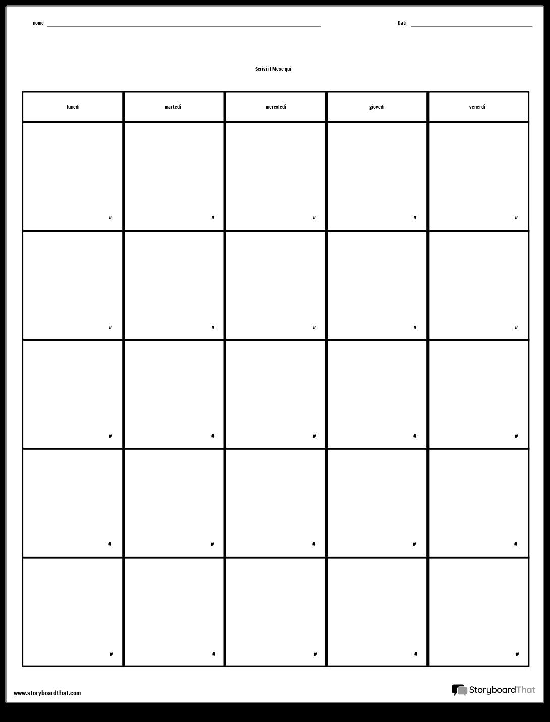 Calendario Giorno.Calendario Giorno Della Settimana Storyboard