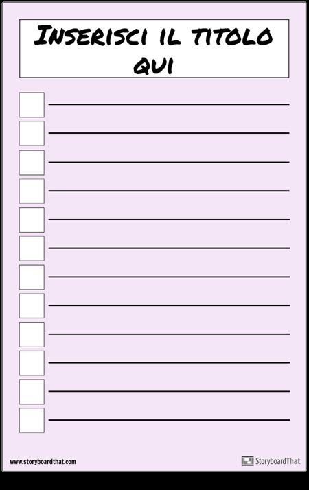 Poster Dell'elenco di Controllo di Base