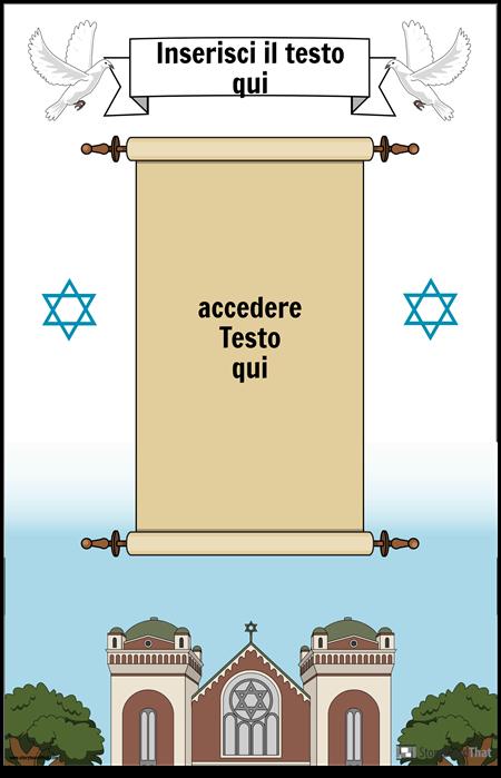Poster ebraico con pergamena