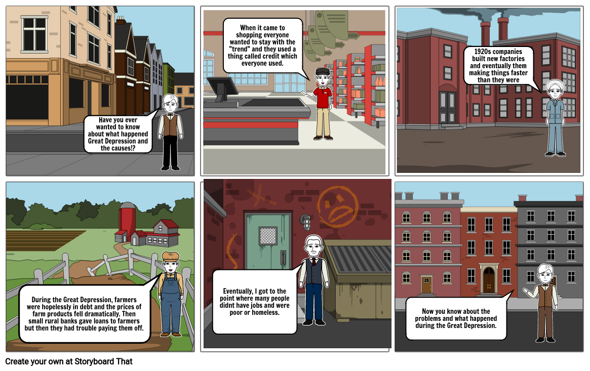 Great Depression Comic Strip Project