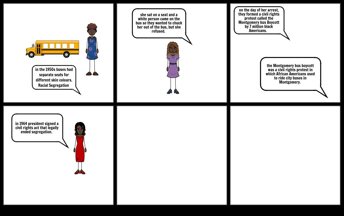 Rosa Parks Bus Boycott storyboard