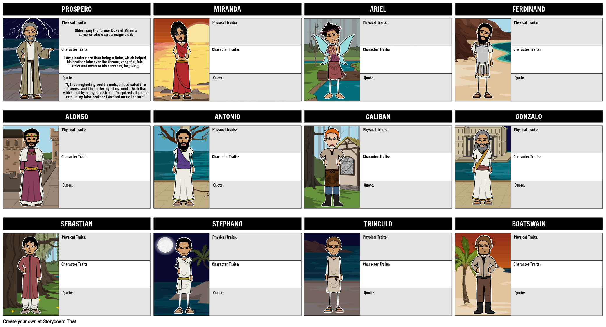 The Tempest Summary Characters Tempest Shakespeare