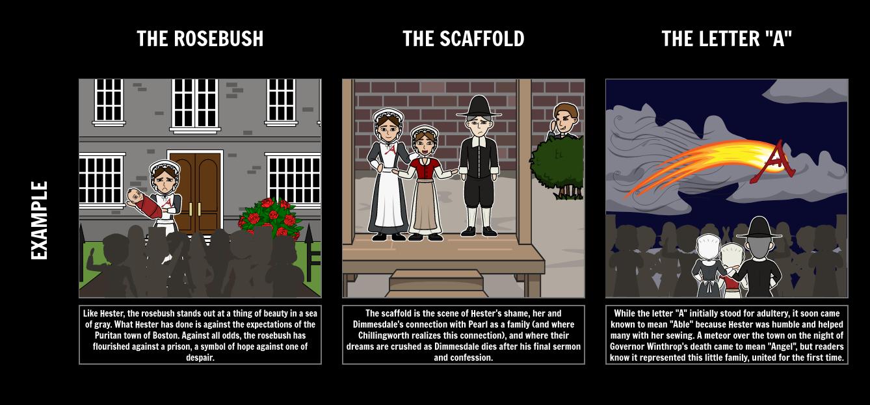 The Scarlet Letter Symbolism Storyboard by kristy littlehale