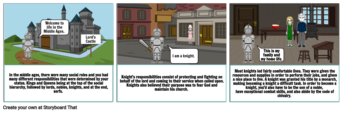 Middle Ages Knight Comic Strip