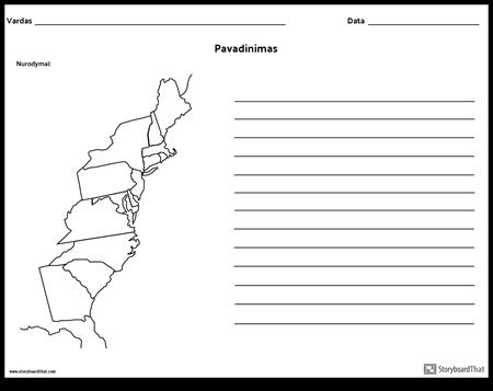 13 Kolonijų Žemėlapis su Linijomis