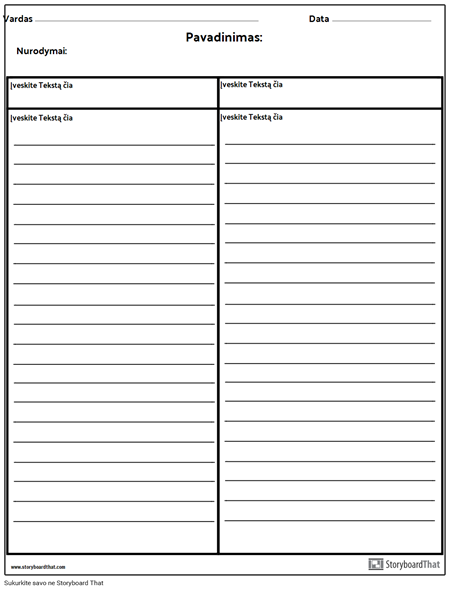 Cornell Notes Columns with Lines