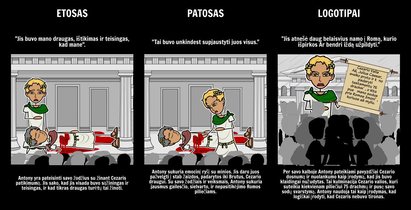 Iš Julius Caesar Ethos, Patoso ir Logotipai Tragedija