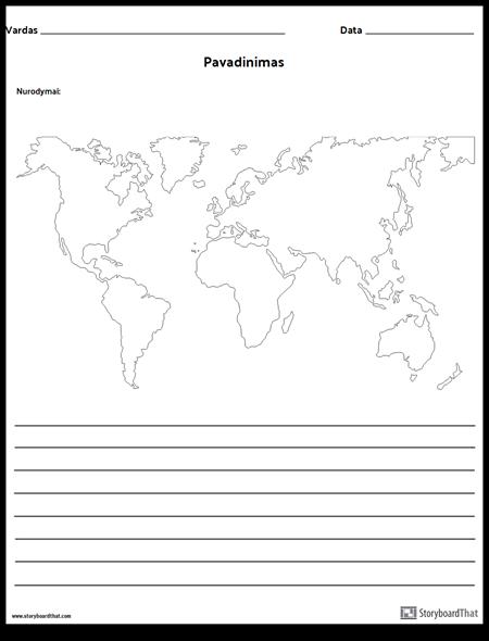 Pasaulio Žemėlapis su Linijomis