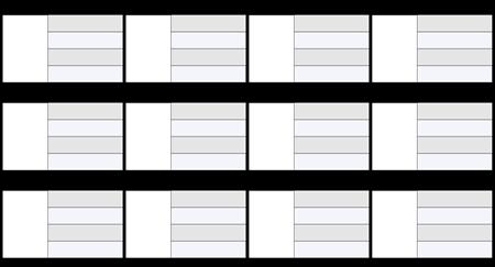 Simbolių kortelė 16x9 4 laukai
