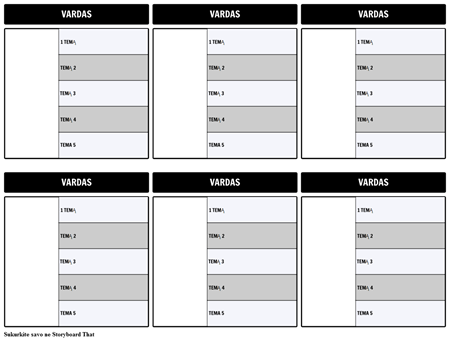 Simbolių schema 5-laukas Šablono