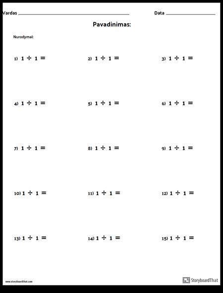 Skyrius - Vienas Numeris - 1 Versija